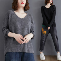 Women's large Winter 2020, autumn 2020 Grey, black, brown L [recommended 100-160 kg], XL [recommended 160-210 kg] sweater singleton  commute easy moderate Socket Long sleeves Solid color Korean version V-neck routine acrylic fibres Three dimensional cutting routine Other / other 25-29 years old
