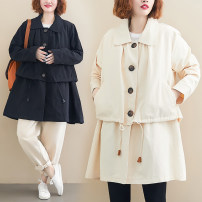 Windbreaker Autumn of 2019 One size fits all Apricot, black Long sleeves routine Medium length commute Single breasted Doll Collar routine Solid color Skirt type Korean version Other / other 25-29 years old Frenulum 71% (inclusive) - 80% (inclusive) cotton cotton