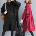 Women's large Autumn of 2019 Navy, Burgundy, black One size fits all shirt singleton  commute easy moderate Cardigan Long sleeves Solid color Korean version Polo collar Medium length Cotton, hemp fold Bat sleeve Other / other pocket 71% (inclusive) - 80% (inclusive)