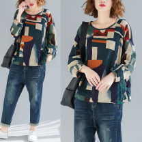 Women's large Autumn of 2019 blackish green One size fits all T-shirt singleton  commute easy moderate Socket Long sleeves Abstract pattern Retro Crew neck routine Cotton, hemp printing and dyeing routine Other / other 51% (inclusive) - 70% (inclusive)
