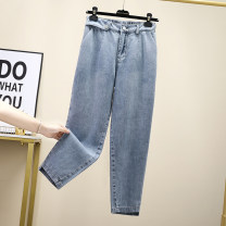 Women's large Spring 2021 blue XL (100-120 kg recommended), 2XL (120-140 kg recommended), 3XL (140-160 kg recommended), 4XL (160-180 kg recommended), 5XL (180-200 kg recommended) Jeans singleton  commute easy thin Solid color Korean version Denim Three dimensional cutting Other / other Button