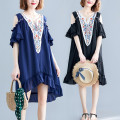 Women's large Summer of 2019 Blue, black L [100-140 kg], XL [140-170 kg], XXL [170-210 kg] Dress singleton  commute easy thin Socket Short sleeve Plants and flowers ethnic style V-neck polyester Collage Other / other Embroidery 81% (inclusive) - 90% (inclusive) Medium length