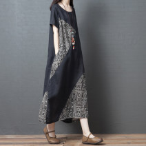 Dress Summer 2020 black M [95-115 Jin], l [115-125 Jin], XL [125-140 Jin], XXL [140-170 Jin] longuette singleton  Short sleeve commute Crew neck Loose waist other Socket A-line skirt routine Others 25-29 years old Type A Other / other Korean version Pockets, stitching other hemp