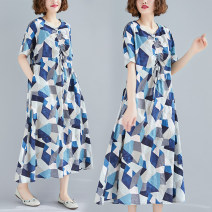 Dress Summer 2020 blue M [95-115 Jin], l [115-125 Jin], XL [125-140 Jin], XXL [140-170 Jin] longuette singleton  Short sleeve commute V-neck Loose waist lattice Socket A-line skirt routine Others Type A Other / other Retro Bandage, print 81% (inclusive) - 90% (inclusive) other hemp