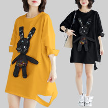 Women's large Summer of 2019 White, yellow, black One size fits all T-shirt singleton  commute easy moderate Socket Short sleeve Cartoon animation Korean version Crew neck Medium length cotton Collage routine Other / other Three dimensional decoration 91% (inclusive) - 95% (inclusive)