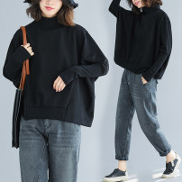 Women's large Winter of 2019, autumn of 2019 black Sweater / sweater singleton  commute easy thick Socket Long sleeves Solid color Korean version High collar have cash less than that is registered in the accounts cotton Three dimensional cutting Bat sleeve Other / other