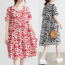 Women's large Summer 2020 Red, black M [95-115 Jin], l [115-125 Jin], XL [125-140 Jin], XXL [140-160 Jin] Dress singleton  commute easy moderate Socket Short sleeve Dot Korean version Crew neck cotton printing and dyeing routine Other / other pocket 51% (inclusive) - 70% (inclusive) Medium length