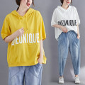 Women's large Summer 2020 White, yellow, black L [100-150 Jin], XL [150-200 Jin] T-shirt singleton  commute easy moderate Socket Short sleeve letter Korean version Hood routine cotton printing and dyeing routine Other / other 81% (inclusive) - 90% (inclusive)