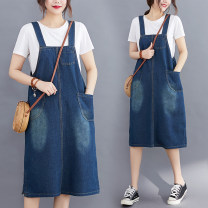 Dress Summer 2020 blue M [95-115 Jin], l [115-130 Jin], XL [130-145 Jin], XXL [145-165 Jin] Mid length dress singleton  Sleeveless commute One word collar Loose waist Solid color Socket A-line skirt Others Type A Other / other Korean version Pocket, make old 51% (inclusive) - 70% (inclusive) Denim