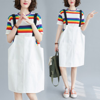 Women's large Summer 2020 M [95-115 Jin], l [115-125 Jin], XL [125-140 Jin], XXL [140-170 Jin] Dress Two piece set commute easy moderate Socket Short sleeve Stripe, solid color Korean version Crew neck routine cotton Three dimensional cutting routine Other / other pocket Medium length straps
