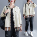 Women's large Spring 2021 Picture color L [100-140 Jin recommended], XL [140-170 Jin recommended], XXL [170-200 Jin recommended] shirt Fake two pieces commute easy moderate Cardigan Long sleeves Plaid, solid Korean version Polo collar routine cotton Collage routine Other / other pocket