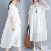 Dress Summer of 2018 White two piece set Average size [110-220 Jin] longuette Two piece set Short sleeve commute Crew neck Loose waist Solid color Socket Big swing routine Others Type A Other / other literature Pockets, stitching 71% (inclusive) - 80% (inclusive) other hemp