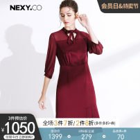 Dress Spring of 2019 gules 36/S 38/M 40/L 42/XL 44/XXL Mid length dress singleton  Long sleeves commute V-neck High waist Solid color Socket Irregular skirt routine Others 35-39 years old NEXY.CO/ Naikou Simplicity X1AHC67510 31% (inclusive) - 50% (inclusive) polyester fiber