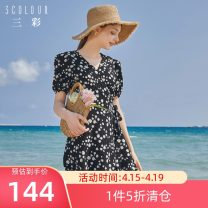 Dress Summer 2020 Mid length dress singleton  Short sleeve commute V-neck middle-waisted Socket A-line skirt puff sleeve 25-29 years old Type X Tricolor lady printing More than 95% polyester fiber