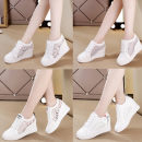 Low top shoes 34,35,36,37,38,39,40 Other / other Round head PU Internal elevation High heel (5-8cm) Shallow mouth cloth Summer of 2018 Frenulum leisure time Adhesive shoes Youth (18-40 years old) Solid color skate shoes Shallow mouth PU daily
