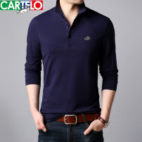 T-shirt yy-8720 Cotton 95% polyurethane elastic fiber (spandex) 5% Fall 2018 Pure e-commerce (online sales only) middle age Business Casual routine Long sleeve routine daily Fashion City standard Cartelo / Cartelo crocodile Lapel Solid color autumn Brand logo International brands Embroidery label