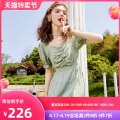 Dress Summer 2020 Bean green S M L Middle-skirt singleton  Short sleeve commute V-neck High waist Solid color Socket other bishop sleeve Others 18-24 years old Ailian Korean version More than 95% polyester fiber Polyester 100% Pure e-commerce (online only)