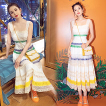 Dress Summer 2021 white S,M,L Mid length dress singleton  Sleeveless commute One word collar High waist stripe zipper Big swing Flying sleeve camisole 25-29 years old Type A Other / other Retro Backless, pleated, Gouhua, hollowed out, splicing, tie dyeing, mesh, lace More than 95% Lace other