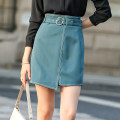 skirt Spring 2020 M L XL XXL Turquoise (belt without drill) black (belt without drill) Short skirt street Natural waist Irregular Solid color 25-29 years old MF32116 More than 95% LAN Lo Lin polyester fiber Asymmetric line decoration Polyester 98% polyurethane elastic fiber (spandex) 2%