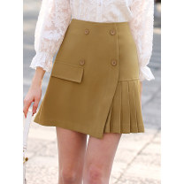 skirt Spring 2020 M L XL XXL Yellow Navy light Khaki Short skirt street High waist A-line skirt Solid color Type A 25-29 years old JS36950 More than 95% LAN Lo Lin polyester fiber Pleated pocket button Polyester 100% Pure e-commerce (online only) Europe and America