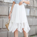 skirt Spring 2020 M L XL Black Beige Mid length dress street High waist Irregular Solid color Type A 25-29 years old EC38025 More than 95% LAN Lo Lin polyester fiber Asymmetric mesh stitching lace Polyester 100% Pure e-commerce (online only) Europe and America