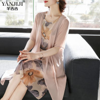Middle aged and old women's wear Summer 2020 Pink Green Recommended weight is less than 1.5 kg fashion Dress Straight cylinder singleton  Decor 40-49 years old Socket thin Crew neck routine YJJ20200070 Yanjiji / yangjiji other Other 100% 96% and above Pure e-commerce (online only) longuette Chiffon