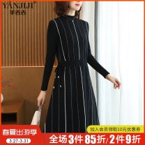 Middle aged and old women's wear Spring 2021 Black 1 2 3 L (within 105 kg recommended) XL (105-125 kg recommended) 2XL (125-145 kg recommended) 3XL (145-160 kg recommended) commute Dress Straight cylinder singleton  stripe 40-49 years old Socket thick Half high collar Medium length routine Bandage