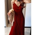Women's large Spring 2021, summer 2021 claret , black , Champagne , milky white Large L , M , 1XL , 2XL , 3XL , 4XL , S Dress singleton  commute Self cultivation thick Socket Solid color V-neck polyester fold 9917—1 25-29 years old wave Medium length Pleated skirt