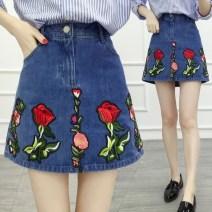 skirt Spring of 2019 M,L,XL,3XL,4XL blue Short skirt Versatile High waist Denim skirt Solid color Type A 51% (inclusive) - 70% (inclusive) Denim cotton Embroidery, three-dimensional decoration, buttons, zippers