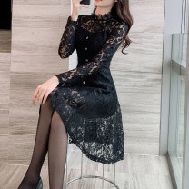 Dress Spring 2021 black S M L XL Mid length dress singleton  Long sleeves commute stand collar middle-waisted other Socket Big swing routine Others 30-34 years old Smfan / shimeifan Korean version Button zipper lace More than 95% Lace other Other 100% Pure e-commerce (online only)