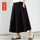 skirt Spring 2021 L XL 2XL black Mid length dress commute Natural waist A-line skirt Type A 25-29 years old 31% (inclusive) - 50% (inclusive) Phoenix Color Viscose Resin fixation splicing Simplicity Pure e-commerce (online only)