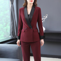 Professional pants suit Red [suit + pants] white [suit + pants] black [suit + pants] red [suit + pants + Black sling] white [suit + pants + white sling] red suit white suit black suit S [95 ~ 105] m [105 ~ 115] l [115 ~ 125] XL [125 ~ 135] 2XL [135 ~ 145] Spring 2021 Coat other styles Long sleeves
