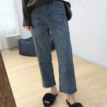 Women's large Autumn of 2019 Blue, black Big XL, big XXL, big XXXL, big XXXXL, big L, big M Jeans singleton  commute Straight cylinder moderate Solid color Korean version Denim 18-24 years old pocket 81% (inclusive) - 90% (inclusive) Ninth pants tassels
