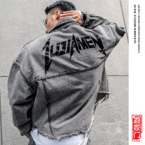 Jacket Lujiamen Youth fashion Washing ash routine easy motion spring Long sleeves Wear out Lapel Youthful vigor teenagers routine Zipper placket 2019 other Stone mill Closing sleeve other Rough edge