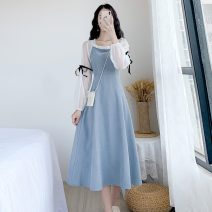 Dress Spring 2021 Light blue, black S,M,L,XL longuette singleton  Long sleeves commute square neck High waist Solid color Socket A-line skirt bishop sleeve Others 18-24 years old Type A Korean version Splicing other