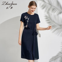 Dress Spring 2021 Tibetan green 160/M 165/L 170/XL 175/XXL Mid length dress singleton  Short sleeve commute Crew neck Broken flowers Socket routine 30-34 years old Zhaojun Retro MXPU08L073 More than 95% other Other 100% Same model in shopping mall (sold online and offline)