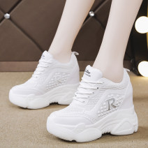 Low top shoes 34 35 36 37 38 39 40 Cixi Round head PU Internal elevation Super high heel (over 8cm) Deep mouth Netting Summer of 2019 Frenulum leisure time Adhesive shoes Youth (18-40 years old) Solid color polyurethane Net shoes Cross strapping platform PU leisure time A079