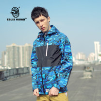 Windbreaker Blue black Eblishungi Youth fashion S M L XL zipper routine standard Other leisure autumn youth other tide F502 Cotton 100% camouflage coating Zipper bag Color contrast cotton Autumn of 2018 Same model in shopping mall (sold online and offline) More than 95%