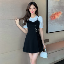 Dress Summer 2021 White sleeves S,M,L,XL,2XL Short skirt Two piece set Short sleeve commute Crew neck High waist Solid color zipper A-line skirt routine 18-24 years old Type A lady Panel, button, zipper 7020#