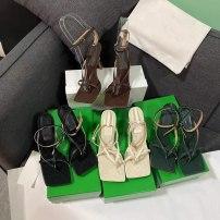Sandals 35,36,37,38,39,40,41,42,43 Sheepskin (except cashmere / cashmere) Square head Fine heel High heel (5-8cm) Spring 2021 Flat buckle Adhesive shoes genuine leather Sheepskin Sheepskin Flat buckle