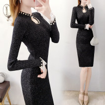 Dress Winter of 2019 S,M,L,XL Middle-skirt singleton  Long sleeves commute other High waist Solid color Socket One pace skirt Breast wrapping Type H Parfait Ol style Splicing