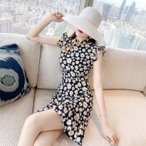 Dress Summer 2021 black S,M,L,XL,2XL Middle-skirt singleton  Short sleeve commute Crew neck Broken flowers A-line skirt routine Others Type A Parfait lady Splicing P2973 other other