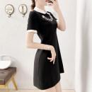 Dress Summer 2021 black S,M,L,XL,2XL Mid length dress singleton  Short sleeve commute V-neck Solid color zipper A-line skirt routine Others Type A Parfait P2989 Chiffon Cellulose acetate