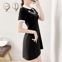 Dress Summer 2021 black S,M,L,XL,2XL Mid length dress singleton  Short sleeve commute V-neck Solid color zipper A-line skirt routine Others Type A Parfait P2989 Chiffon Cellulose acetate