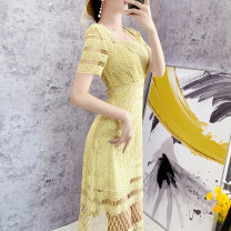 Dress Summer 2021 Light yellow S,M,L,XL,2XL Middle-skirt singleton  Short sleeve commute V-neck High waist Dot zipper other routine Others Type H Parfait Stitching, lace P6003 Lace other