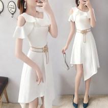 Dress Spring 2020 White, light blue S,M,L,XL,2XL Short skirt singleton  Short sleeve commute other High waist Solid color zipper A-line skirt other Others Type A Parfait lady Splicing