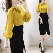 Dress Spring 2020 Yellow, yellow short sleeves S,M,L,XL,2XL Mid length dress singleton  Long sleeves commute middle-waisted Solid color zipper One pace skirt routine Others Type H Parfait Simplicity P1779