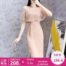 Dress Summer 2021 Lotus root color S,M,L,XL,2XL Middle-skirt singleton  Long sleeves commute V-neck middle-waisted Solid color zipper other other Others Type H Parfait lady Splicing P6025 other Cellulose acetate