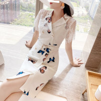 Dress Summer 2021 white S,M,L,XL,2XL Middle-skirt singleton  Long sleeves commute Doll Collar Decor One pace skirt routine Others Type H Parfait Splicing P5248 other other