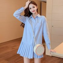 Dress Autumn 2020 Light blue, white XS,S,M,L,XL Short skirt singleton  Long sleeves commute Polo collar Loose waist Solid color Single breasted Pleated skirt shirt sleeve Others 18-24 years old Type A Korean version Splicing 81% (inclusive) - 90% (inclusive) other cotton